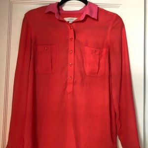 LOFT size S salmon and hot pink button down shirt